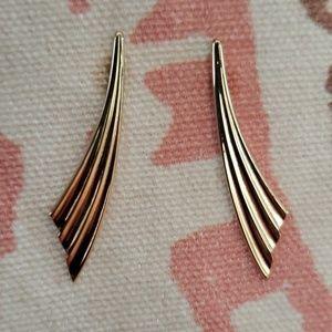 Vintage Monet Earrings/ Retro/ Gold Dangle